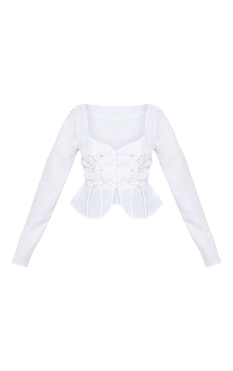 Petite White Long Sleeve Corset Blouse 3