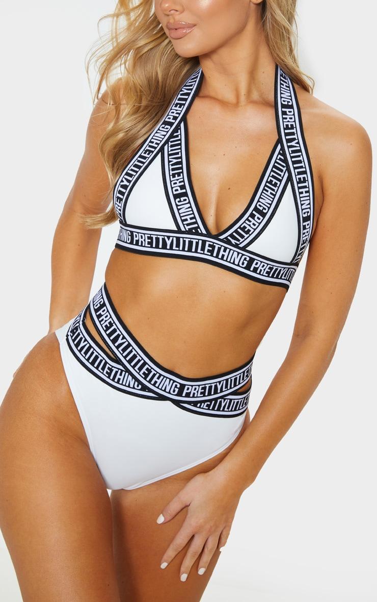 White PRETTYLITTLETHING Strap Bikini Bottoms 1