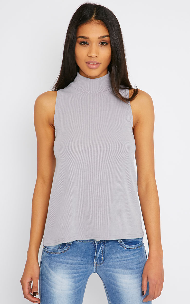 Basic Grey Sleeveless Turtle Neck 1