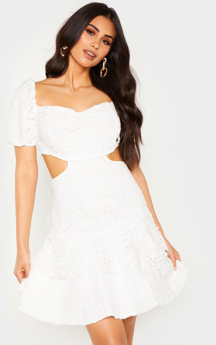 White Lace Puff Sleeve Cut Out Skater Dress 1