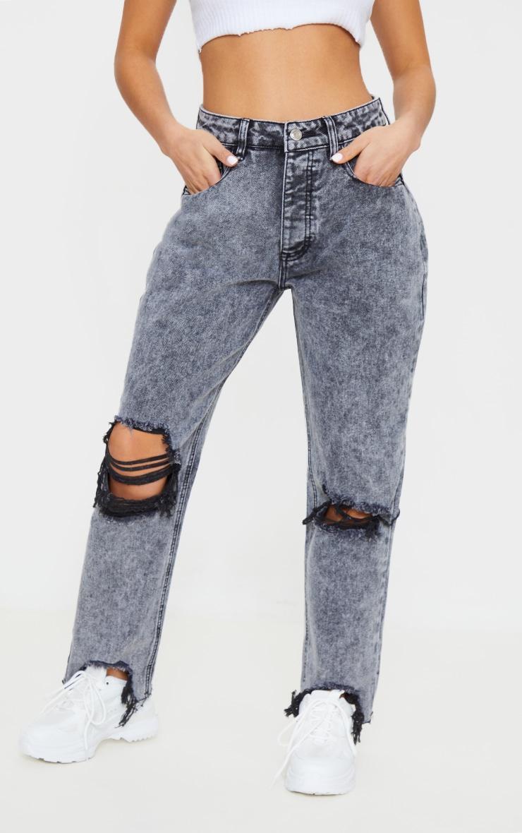 PRETTYLITTLETHING Petite Grey Acid Wash Extreme Distressed Hem Denim Jeans 2