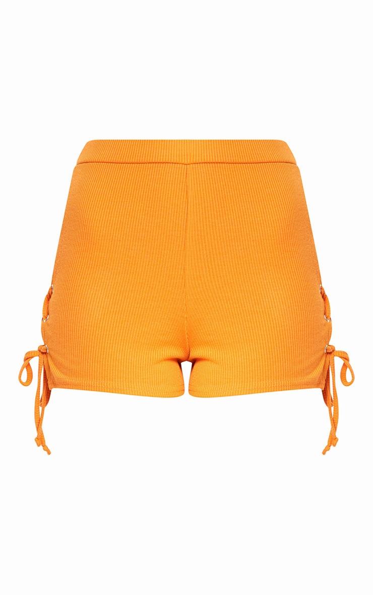 Orange Ribbed Lace Up Shorts 3