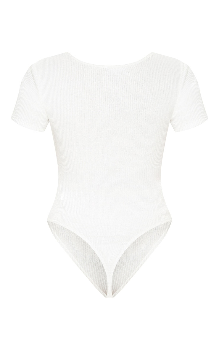 White Brushed Rib Square Neck Bodysuit 4