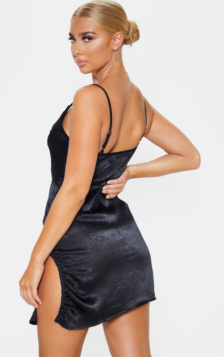 Black Hammered Satin Cowl Ruched Split Bodycon Dress 2