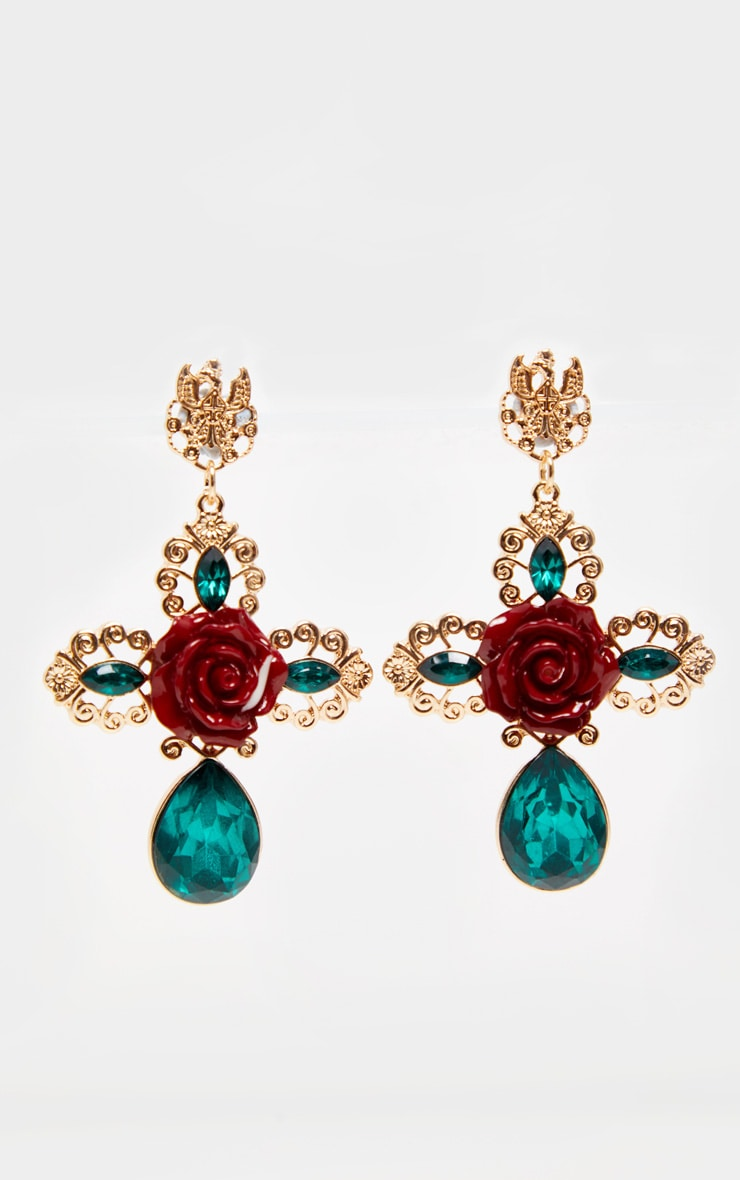Green Gemstone Red Rose Ornate Cross Earrings 2