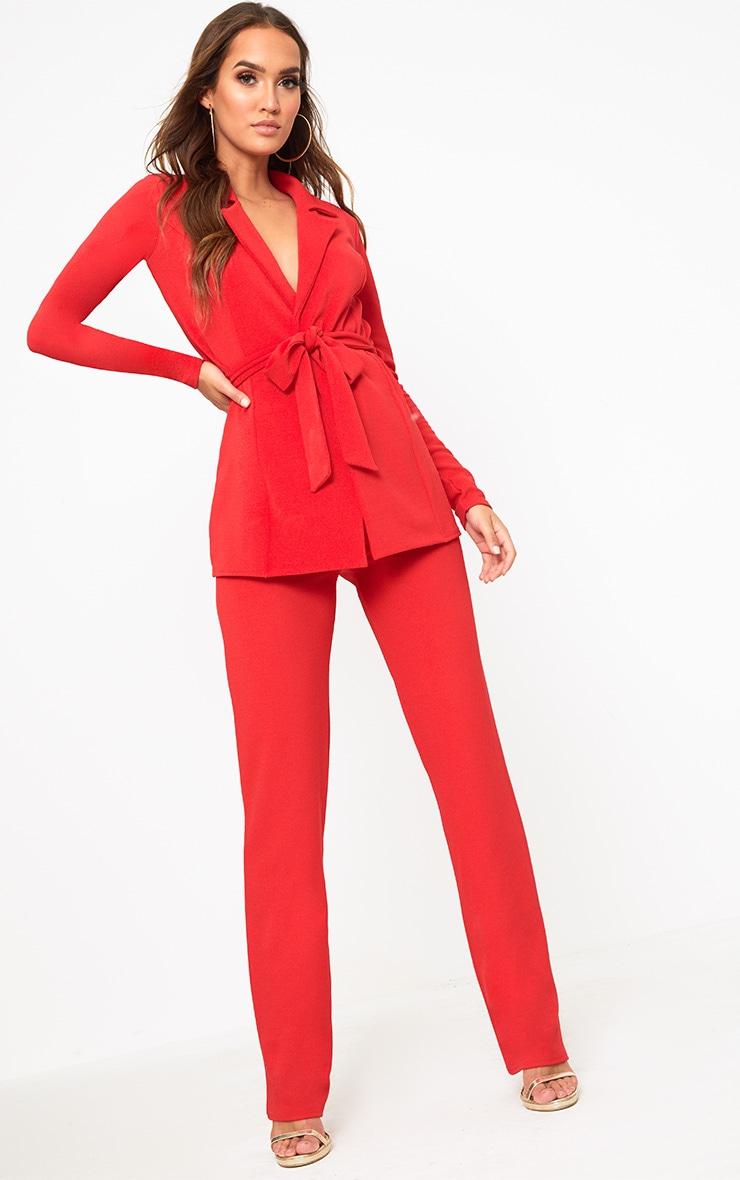 Red Straight Leg Suit Trousers 1
