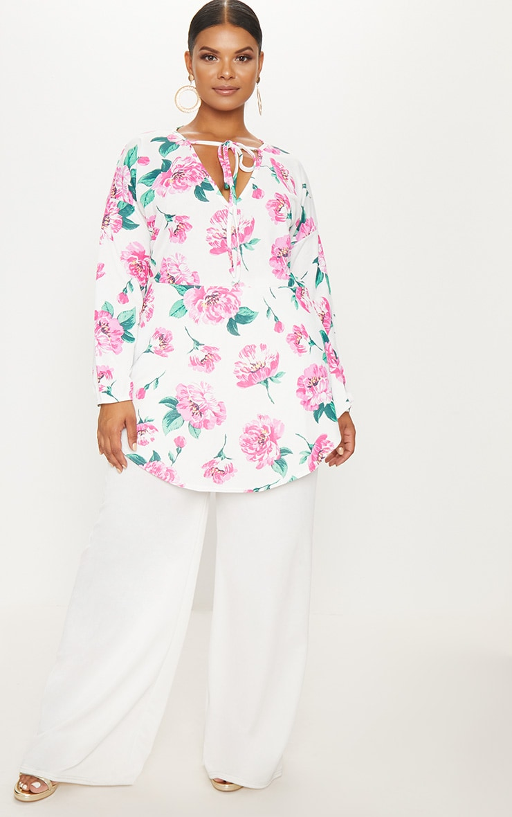 Plus White Floral Print Tie Detail Floaty Top 4