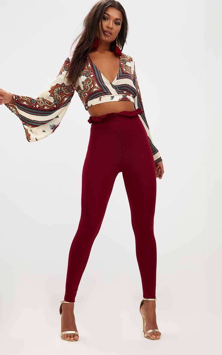 Burgundy Paperbag Leggings 1