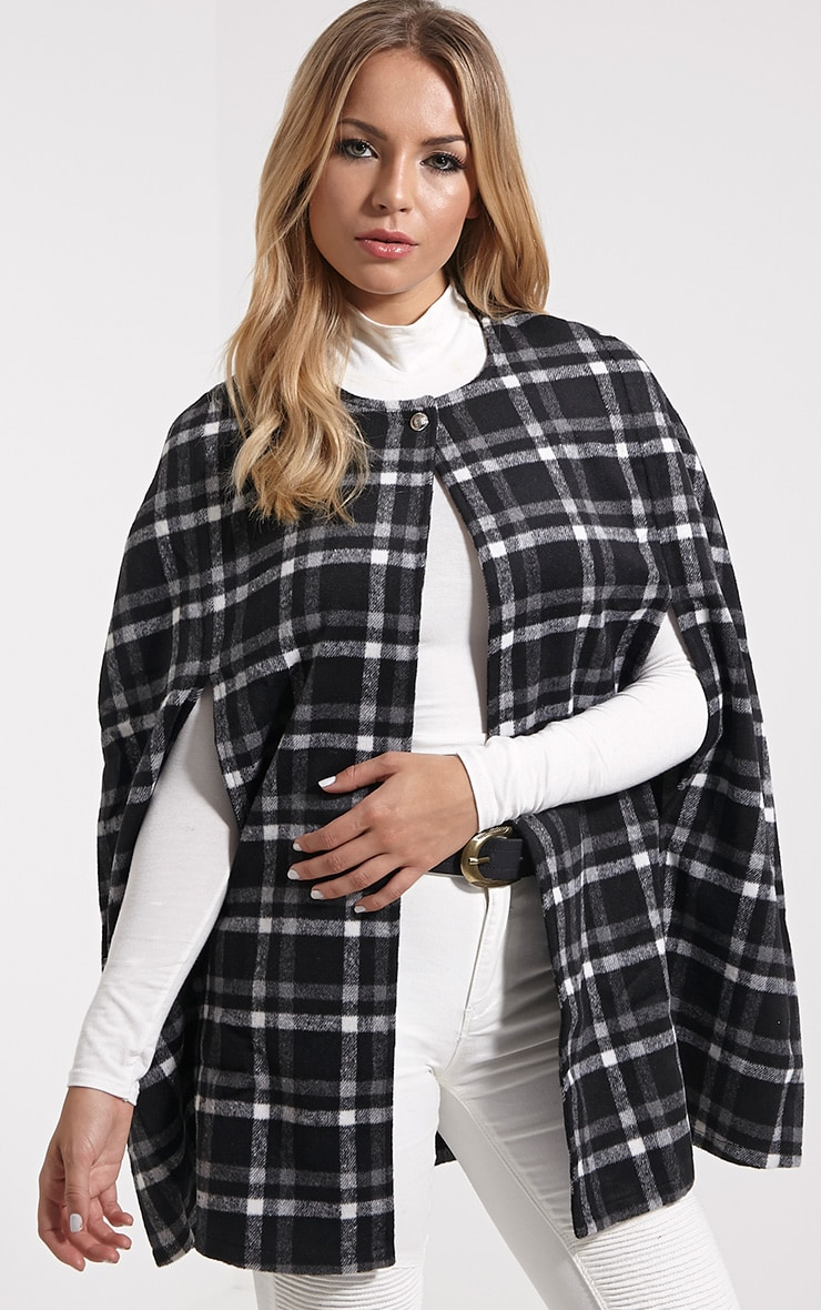 Justine Black Checked Wool Cape 1