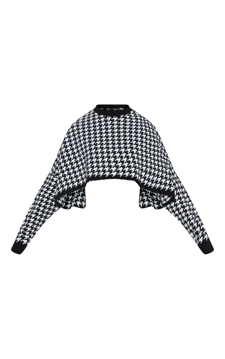 Black Dogtooth Knitted Cropped Jumper 3