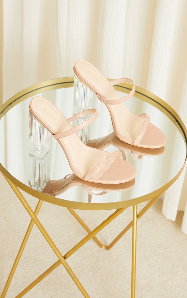Nude WIDE FIT PU Patent Double Strap Clear Block High Heels 4