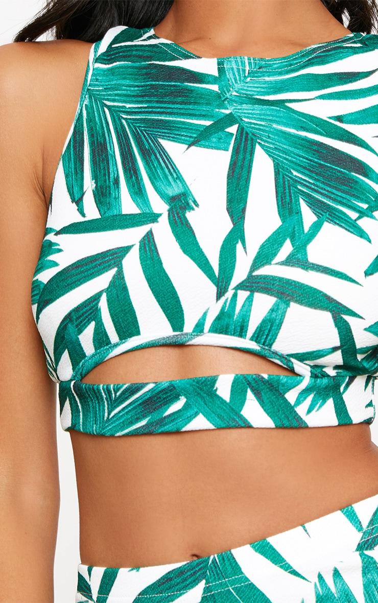 Green Tropical Print Racer Back Crop Top  5