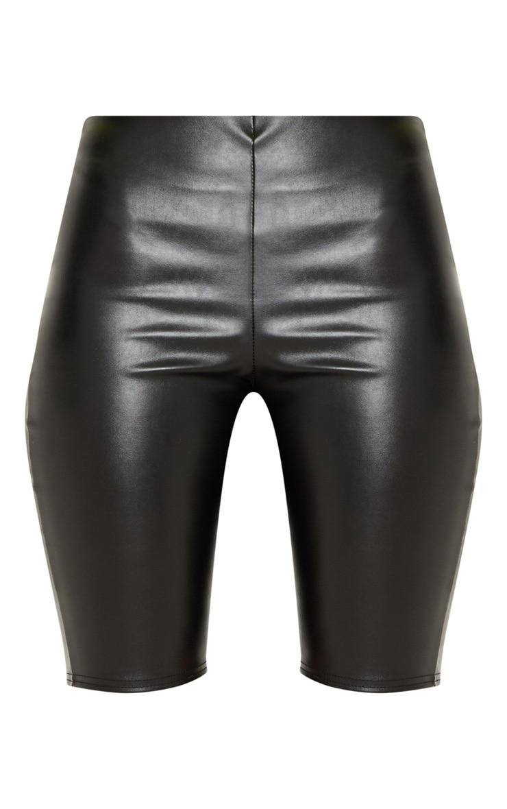 Black Faux Leather Cycle Short 3
