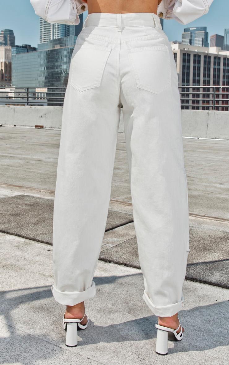 Ecru Slit Knee Straight Leg Jeans 4