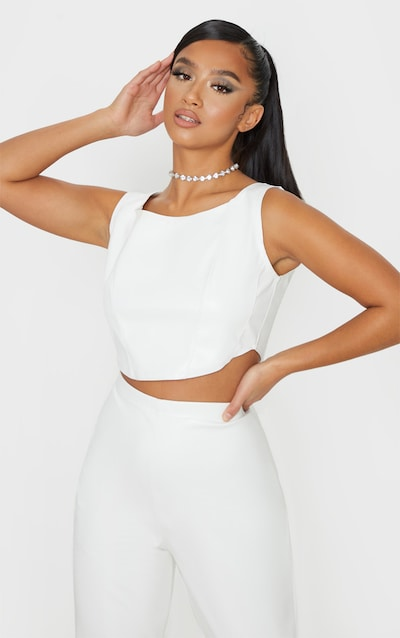 Petite White Corset Detail Crop Top