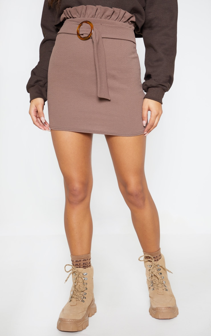 Mocha Tortoiseshell O Ring Belt Paperbag Mini Skirt 2