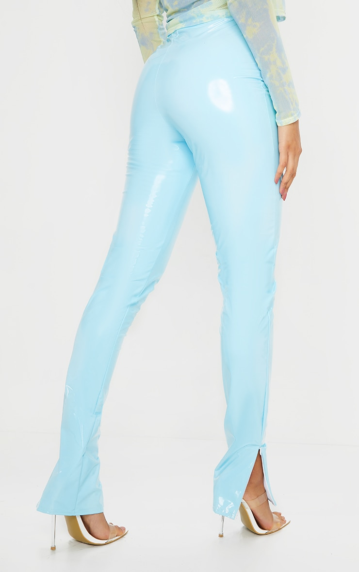 Light Blue Vinyl Split Hem Skinny Pants 3