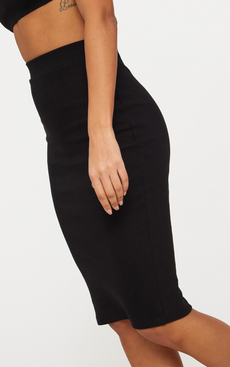 Black Second Skin Bodycon Midi Skirt 6