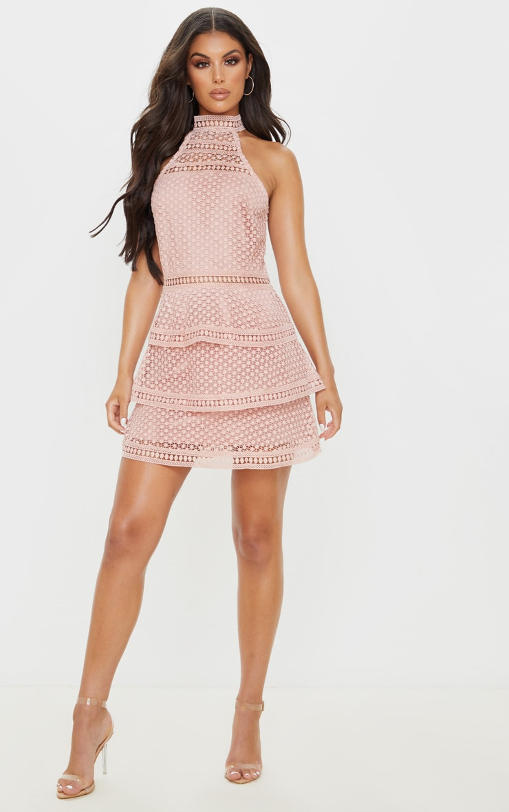 Dusty Pink Lace Panel Tiered Bodycon Dress 4