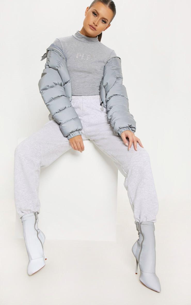 PRETTYLITTLETHING Space Grey Diamante High Neck Bodysuit 1