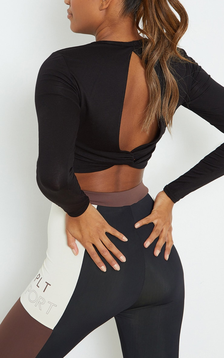 PRETTYLITTLETHING Black Knot Back Cropped Long Sleeve Gym Top 4