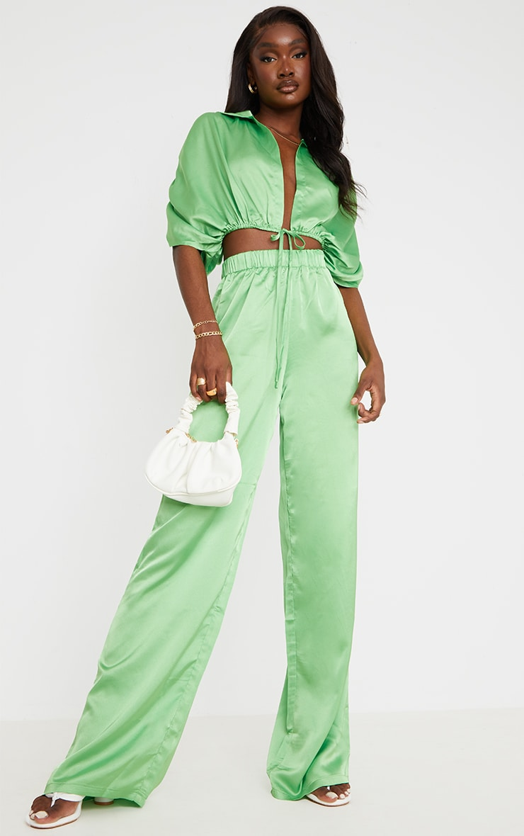 Tall Green Satin High Waisted Ruched Wide Leg Pants 1