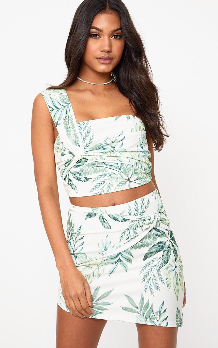 Cream Leafy Print Bow Panel Asymmetric Mini Skirt  1