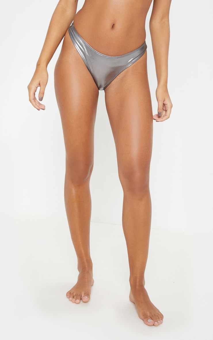 Gunmetal Metallic Thong Bikini Bottom 2