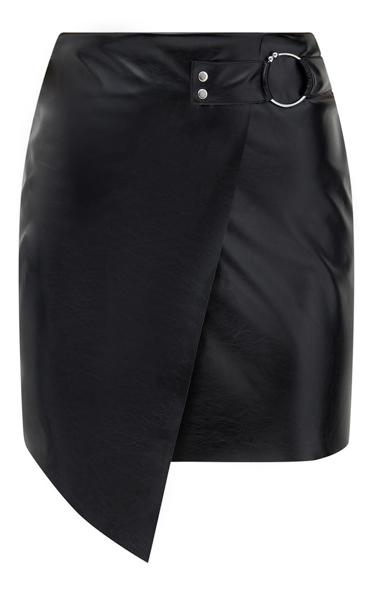 Black Faux Leather Ring Belt Mini Skirt 3