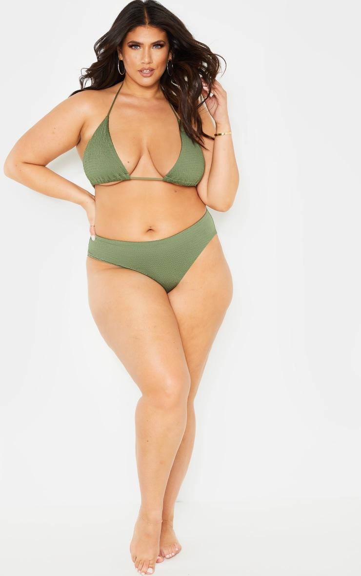 Plus Khaki Crinkle Bikini Bottom  5