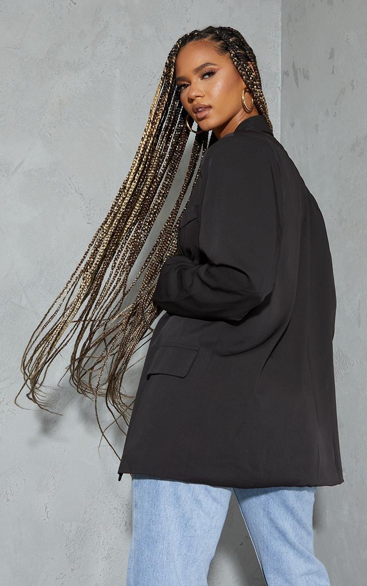 Black Curved Lapel Woven Longline Blazer 2