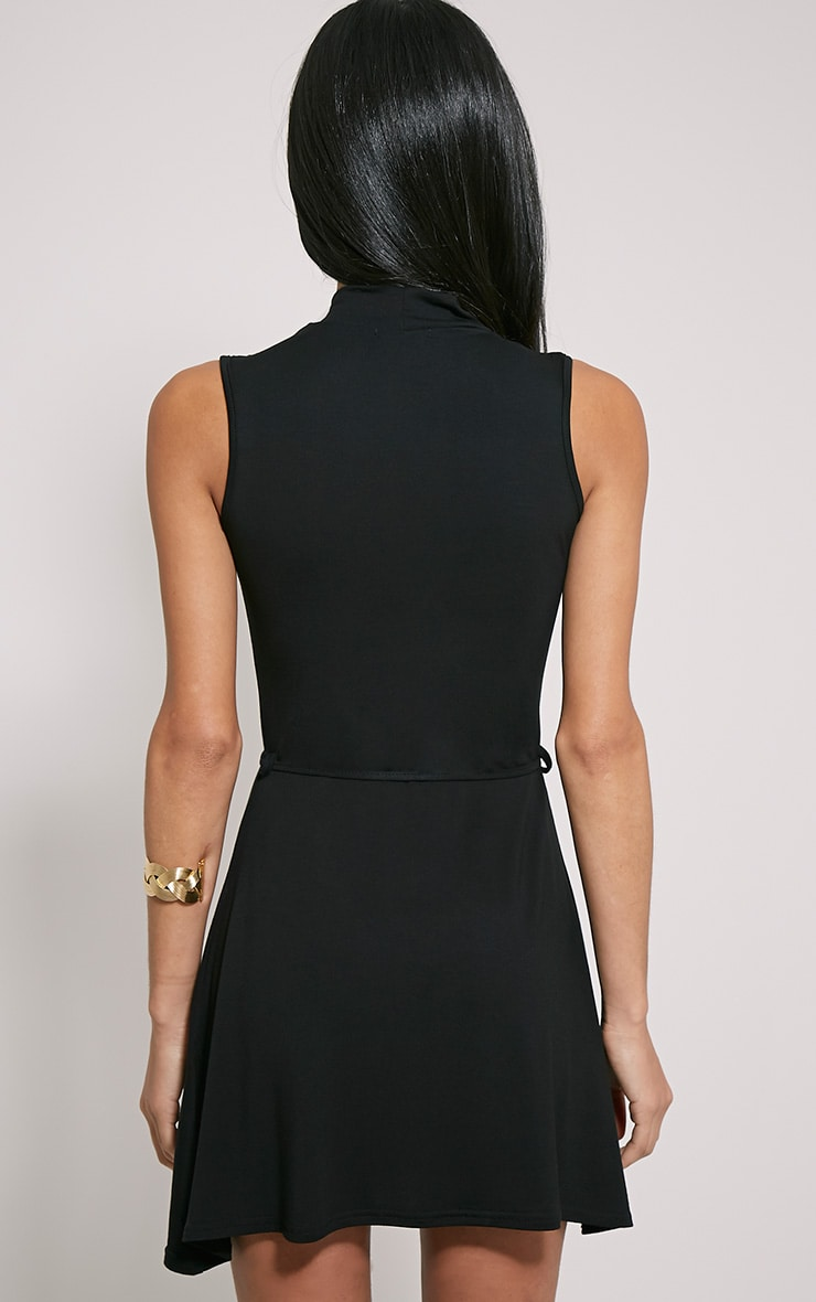 Marlie Black High Neck Belted Skater Dress 2