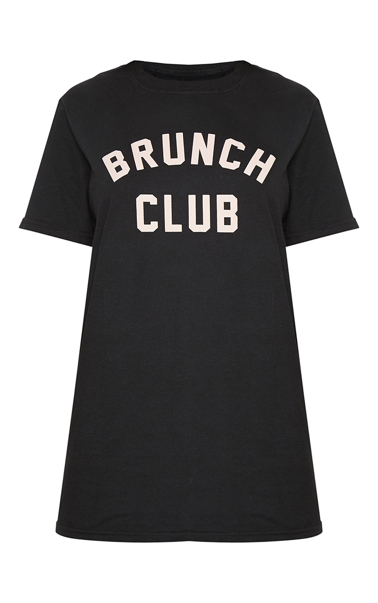 Black Brunch Club Slogan Oversized T Shirt 3