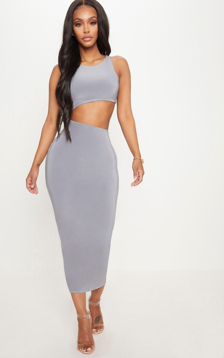 Shape Ice Grey Extreme Cut Out Midaxi Dress 1