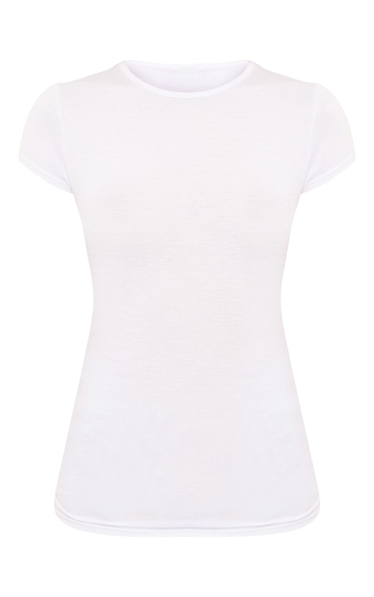 Basic White Crew Neck Fitted T Shirt 3