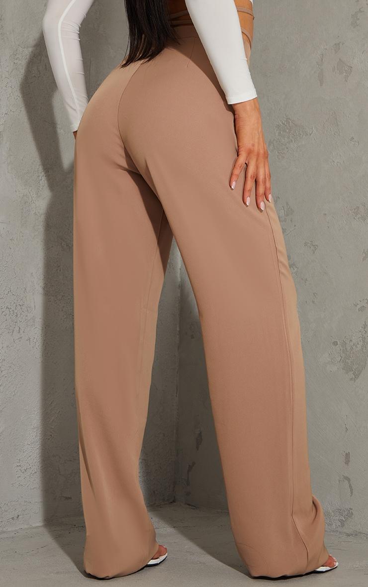 Stone Woven Tie Waist Straight Leg Pants 3