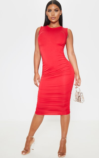 Red Sleeveless Crew Neck Ruched Side Midi Dress