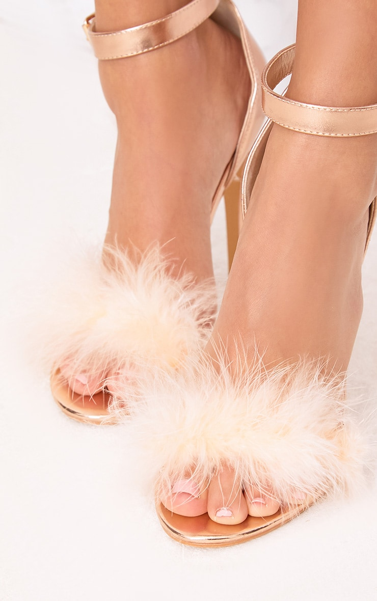 Soraya Nude Feather Strap Heels 5