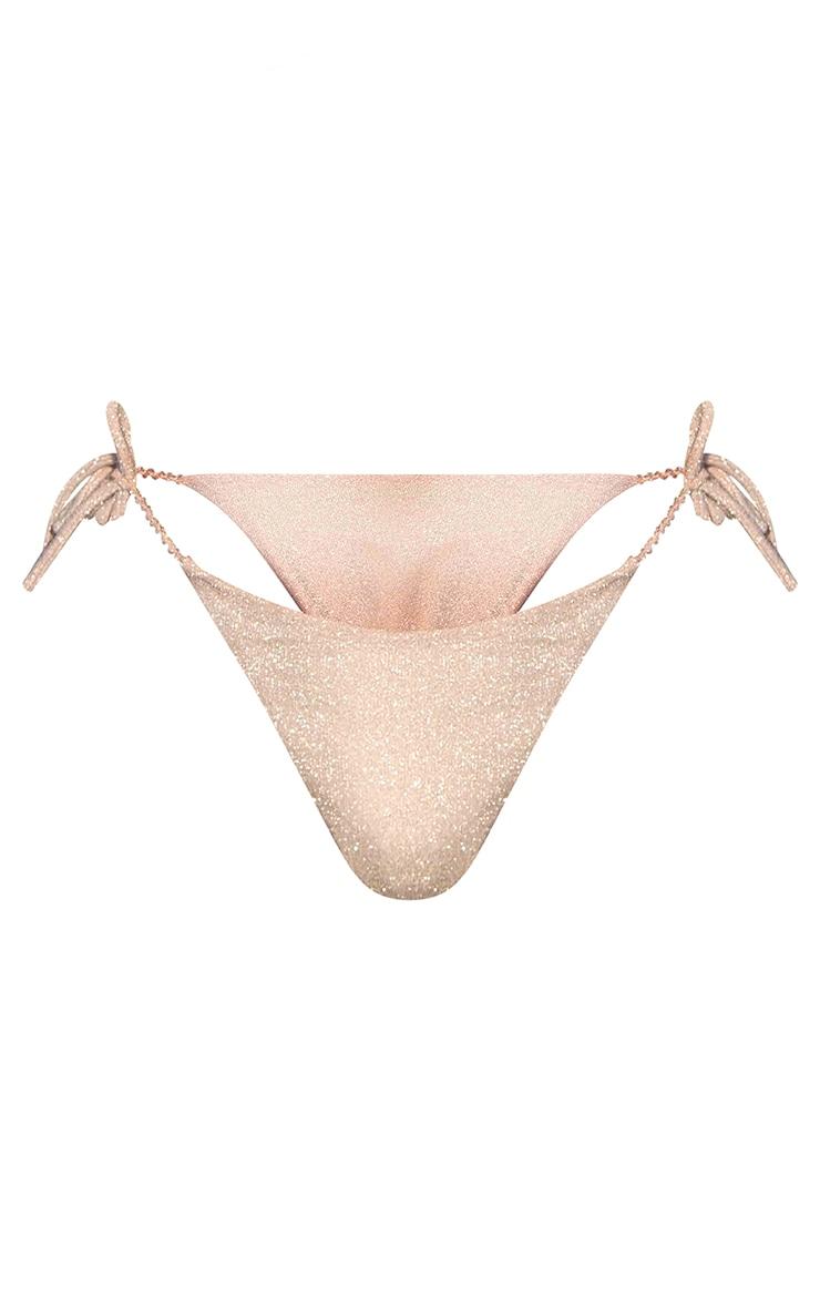 Pink Pearl Strap Glitter Tie Side Bikini Bottoms 5