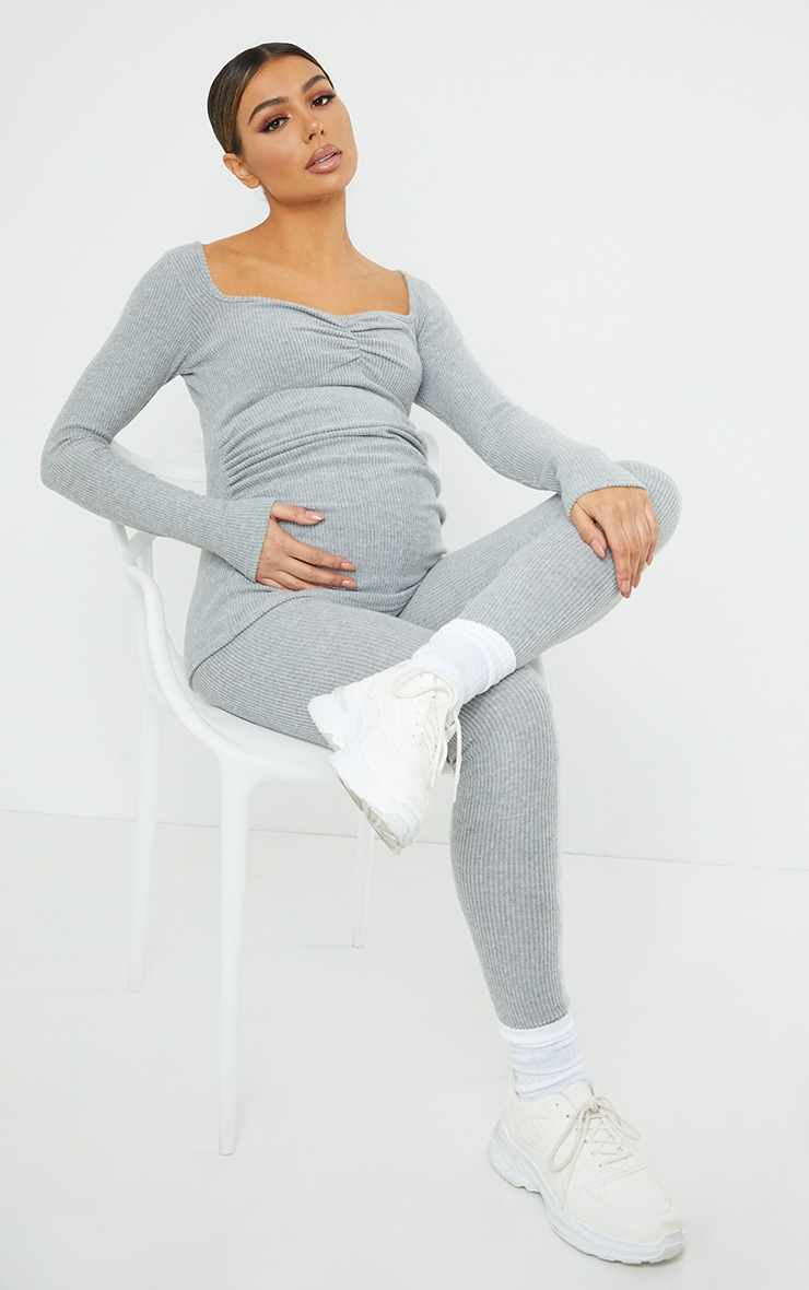Maternity Grey Ruched Bust Brushed Rib Top 3