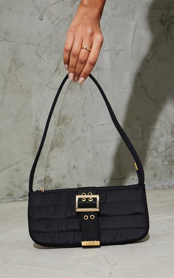 Black Nylon Quilted Front Buckle Shoulder Bag 2