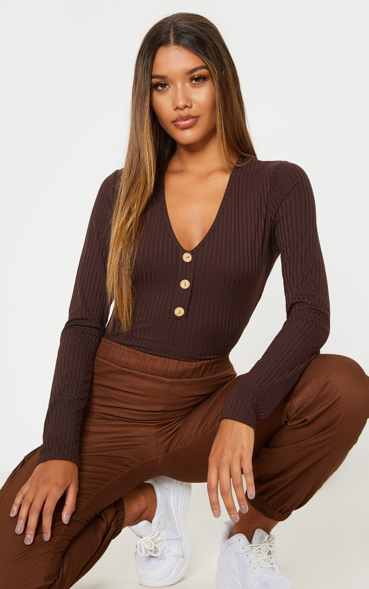 Chocolate Long Sleeve Button Rib Bodysuit 1