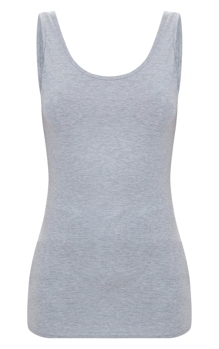 Basic Grey Jersey Scoop Low Back Longline Vest 3