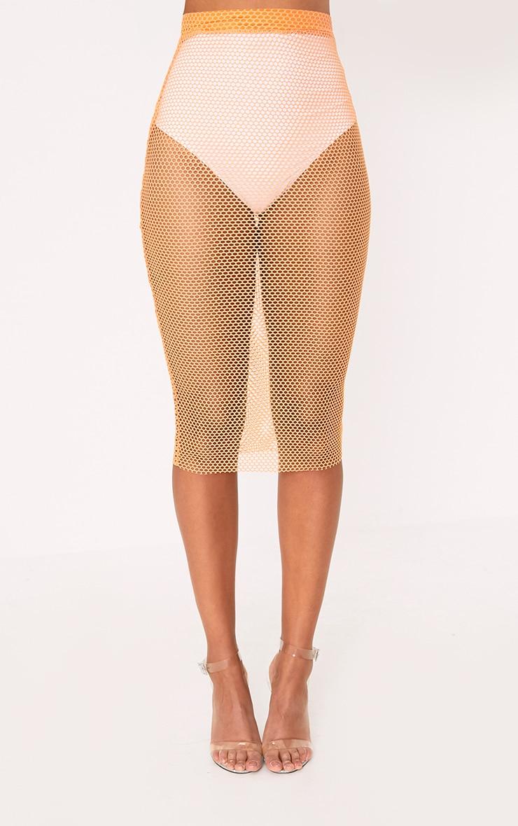 Orange Fishnet Midi Skirt 2