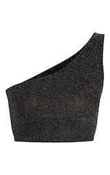 a812674b90e801 Black Glitter One Shoulder Crop Top image 3