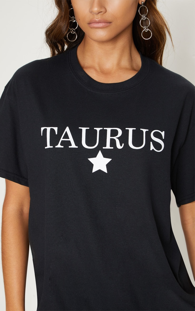 Black Taurus Star Sign Slogan Oversized T Shirt  5