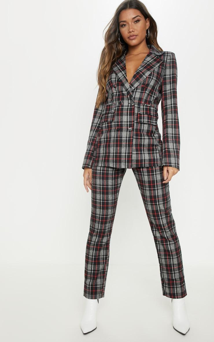 Black Check Woven Suit Pants 1