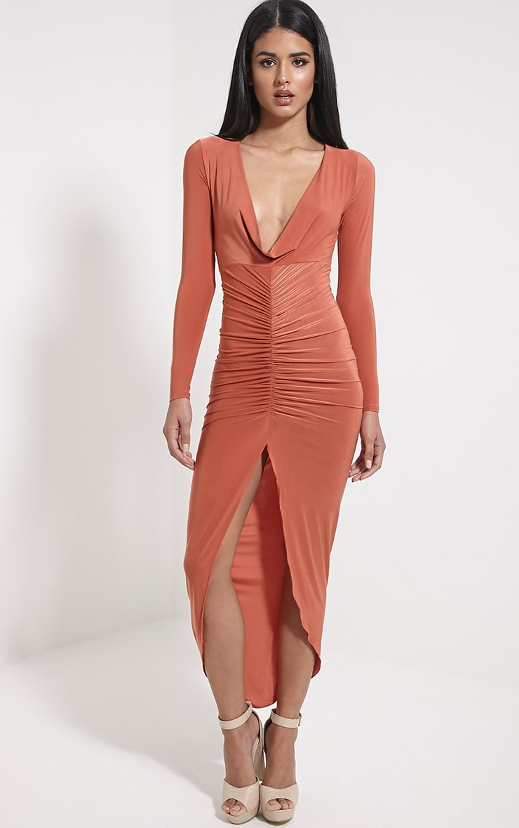 Ellie Rust Slinky Ruched Maxi Dress 4