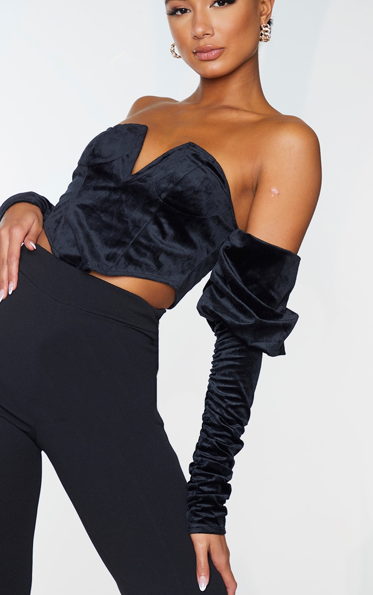 Black Velvet V Wire Bandeau Ruched Sleeve Crop Top 4