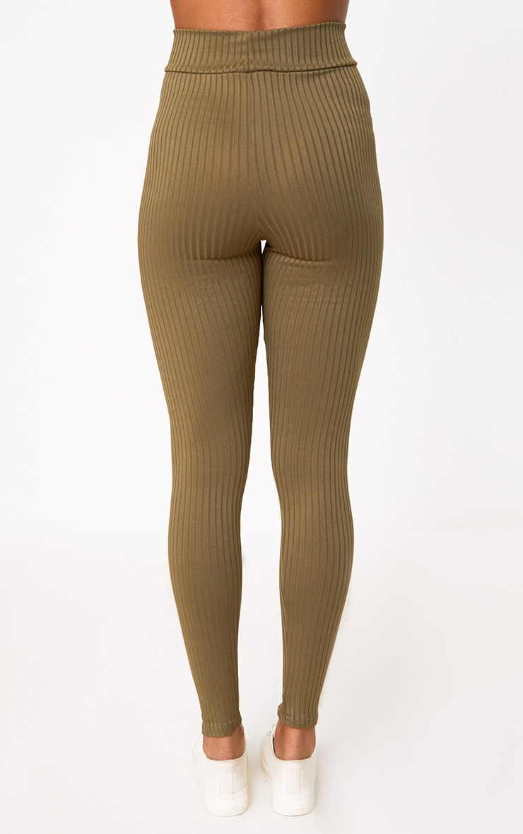 Harlie Khaki Ribbed High Waisted Leggings 4